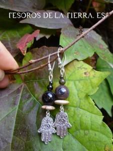 pendientes de obsidiana, agata y jaspe cuadro