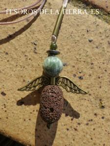 colgante de jade, hamatites, serafinita y lava