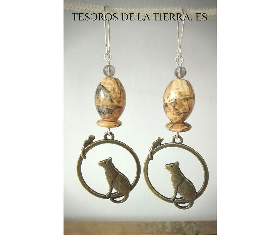 Pendientes de Cuarzo Ahumado y Jaspe Paisaje