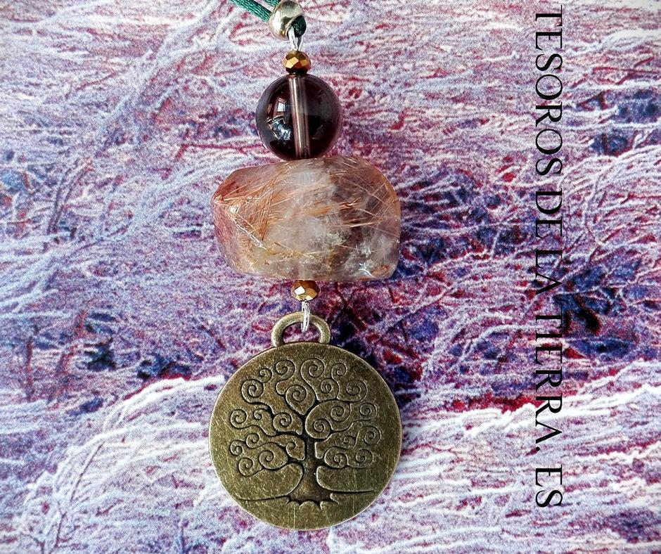 Colgante de Cuarzo Ahumado, Cuarzo Rutilado y Árbol de la vida