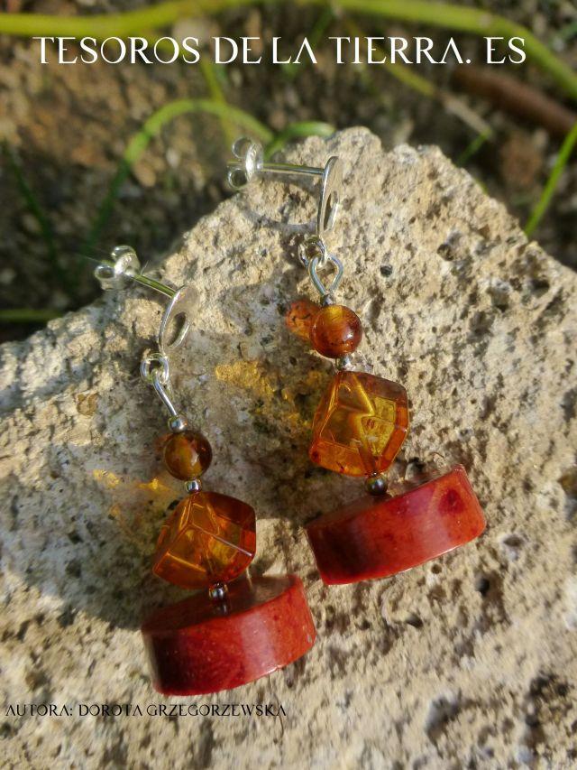 pendientes de ambar y coral